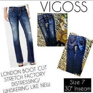 Vigoss Jeans Size 7 London Boot Cut Distressed EUC